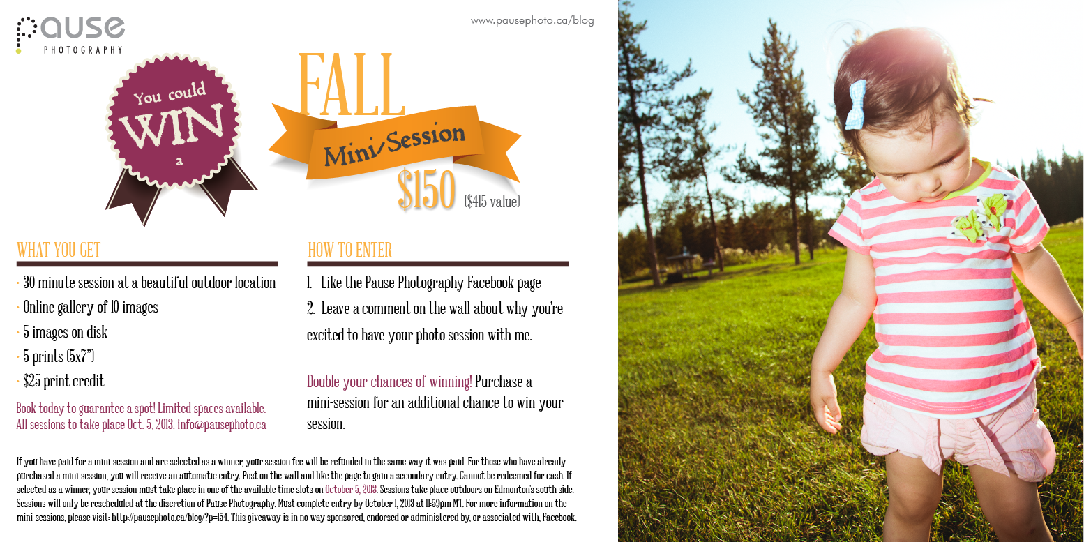 Win a Fall Mini-Session with Pause Photography