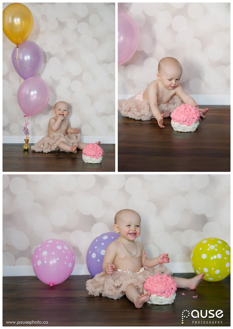 Edmonton First Birthday Cake Smash Pictures by Pause Photography